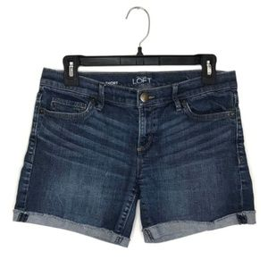 "Ann Taylor LOFT size 0 denim roll short 5"" inseam"